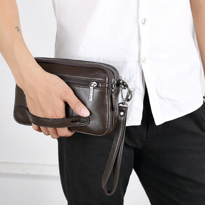 High Quality Men's Business Clutch Wallet Real Leather Wrist Money Bags First Layer Cowhide Purse Wallets Cigarette Card Holder