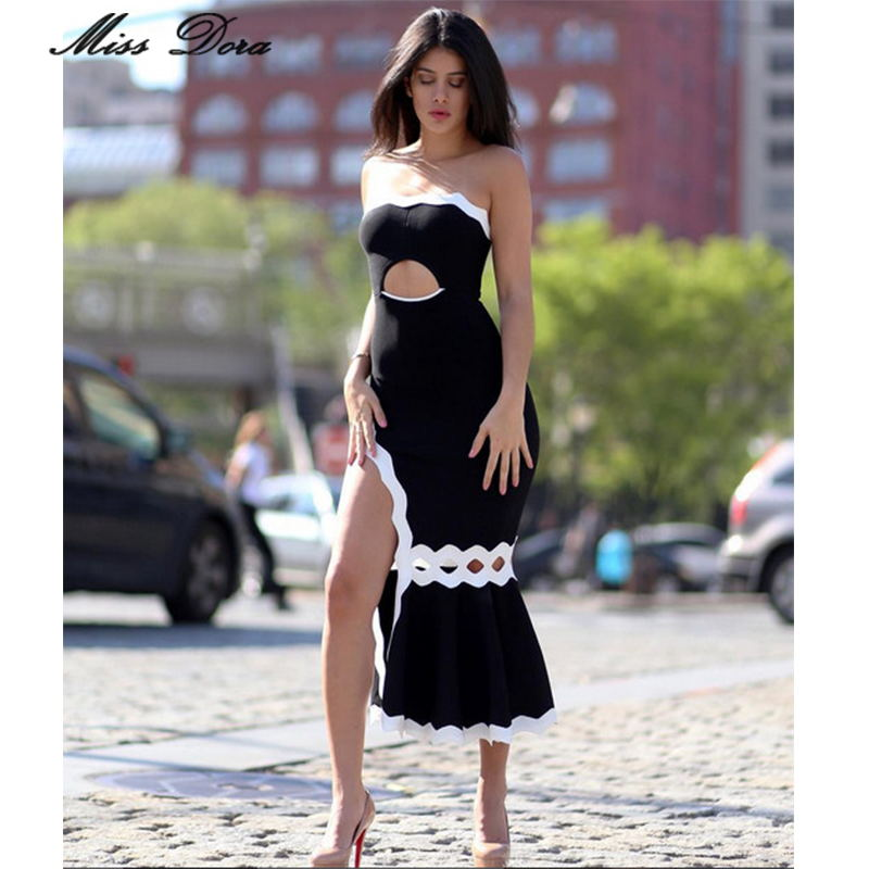 69bcccca6c65 2016 New arrival women sexy strapless Scalloped Bandeau Mermaid Midi  Bandage Dress Black White Celebrity Evening party dress-in Dresses from  Women's ...