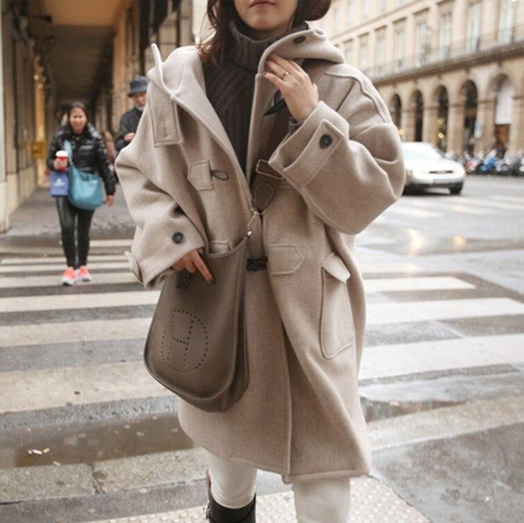 Manches Laine Femme Coréenne Veste Manteau Mode Beige Pour Longue De Solide Chaud Femmes Unique Mélange Full Poitrine Hooded eWE9ID2HY