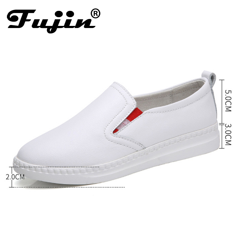 Fujin 2018 Spring Autumn New Fashion Women Loafers Flats Sneakers  Casual Work Driving Shoes Lady Slip On Genuine Leather Shoes pl us size 38 47 handmade genuine leather mens shoes casual men loafers fashion breathable driving shoes slip on moccasins