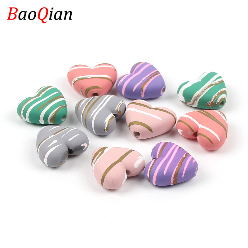Acrylic Stripes Heart-shaped Beads DIY Holiday Gifts Handmade Creative Baby Toy Necklace Bracelet Jewelry Accessories(China)