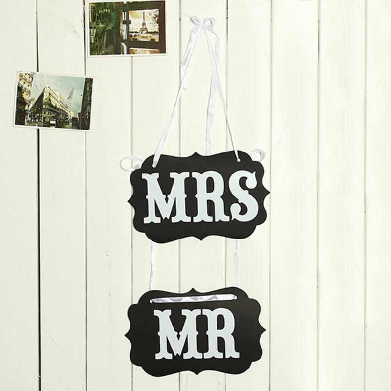 2 個 5 スタイル黒クラフト段ボール Mr Mrs 花嫁新郎椅子バックプル花の結婚式の花嫁新郎撮影小道具パーティー用品