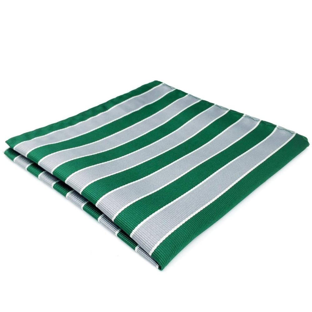 DH31 Green Grey Striped Mens Pocket Square Silk Handkerchief Large 12.6