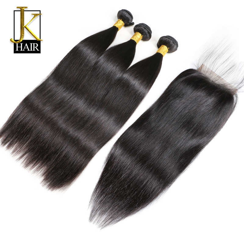 3 Bundle With Closure Brazilian Human Hair Weave Bundles Non Remy Straight Human Hair Extension Can Pre Colored 4 PC/Lot JK
