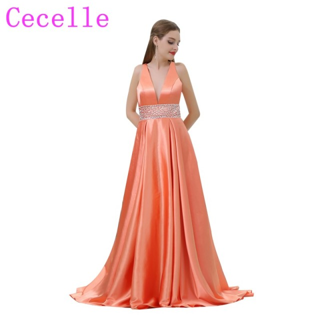 orange Satin Long Sexy Deep V Neck 2018 New Prom Dresses With Beaded ...