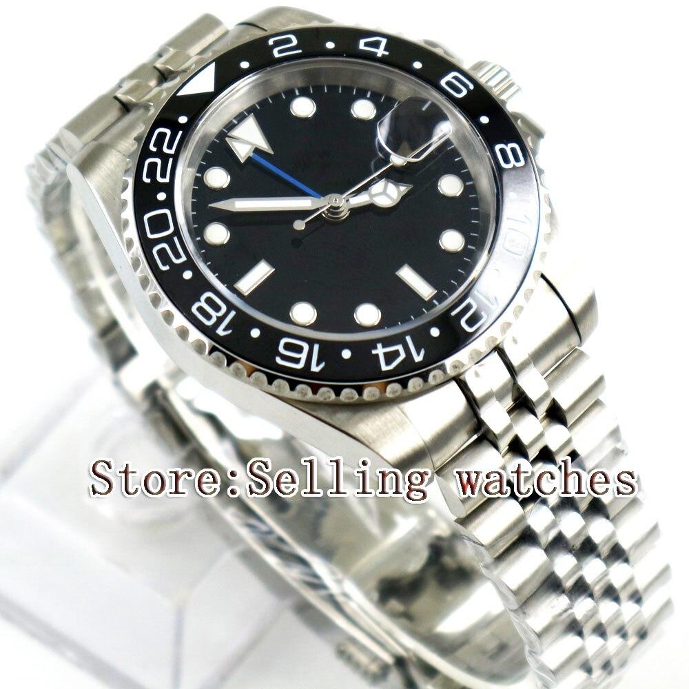 40mm Parnis czarny sterylne Dial czarny ceramiczny Bezel jubileusz pasek w stylu niebieski GMT data oknie automatyczny męski zegarek w Zegarki mechaniczne od Zegarki na  Grupa 2