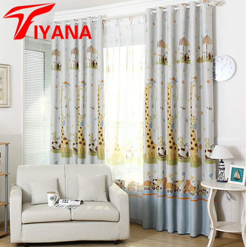 Cartoon Trees Curtains For Kids Boys Bedroom Blinds Linen: Korean Cartoon Giraffe Curtains For Children Window