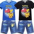 Новый Дизайн Babys мальчиков футболки + джинсы брюки Пикачу спорта костюмы pokemon идут мальчики Мультфильм дети комплект одежды детская одежда набор