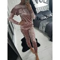 Velvet Tracksuit Cute Ruffles Off Shoulder Long Sleeve Sweatshirts Women Solid Long Pants Casual Two Piece Set Outfits For Women