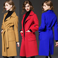 Women Coat 2015 Autumn Winter New Fashion Wool Slim Long High Quality Jackets And Coats With Blet Plus Size Red Brown Blue