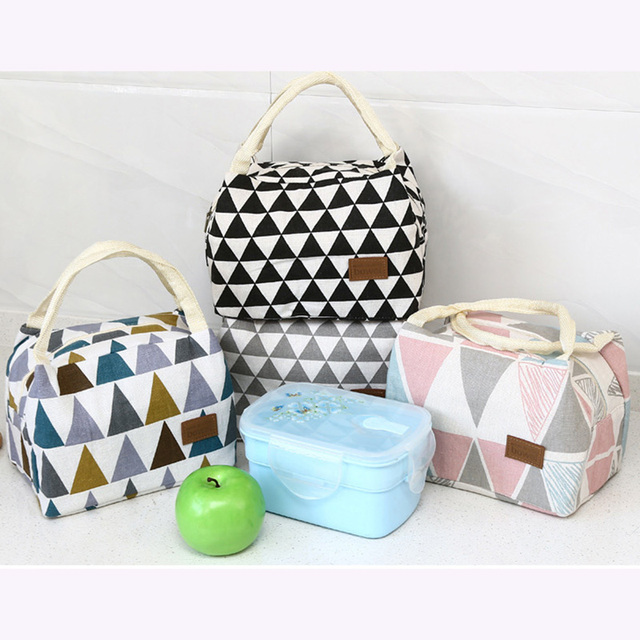 Outdoor Portable Picnic Lunch Bag Pattern Geometry Print Colorful Triangle Thermal Food Insulated Picnic Bag For Camping Hiking