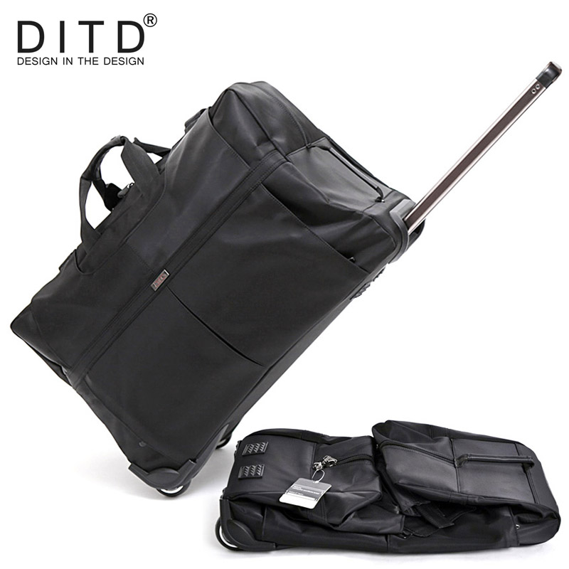 DITD 242832 Large Waterproof Duffle bag Trolley Bag Fold nylon Rolling Trolley Luggage Bag Travel Bag Checked Hand Luggage light trolley checked bag male big capacity waterproof portable wheel bag travel bag 32 inch moving house trolley bag