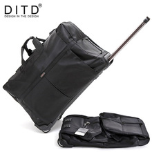 DITD 242832 Large Waterproof Duffle bag Trolley Bag Fold nylon Rolling Trolley Luggage Bag Travel Bag Checked Hand Luggage medical trolley rolling monitor stand