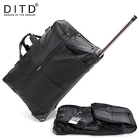 DITD 242832 Large Waterproof Duffle bag Trolley Bag Fold nylon Rolling Trolley Luggage Bag Travel Bag Checked Hand Luggage
