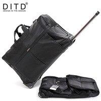 DITD 242832 Large Waterproof Duffle bag Trolley Bag Fold nylon Rolling Trolley Luggage Bag Travel Bag Checked Hand Luggage