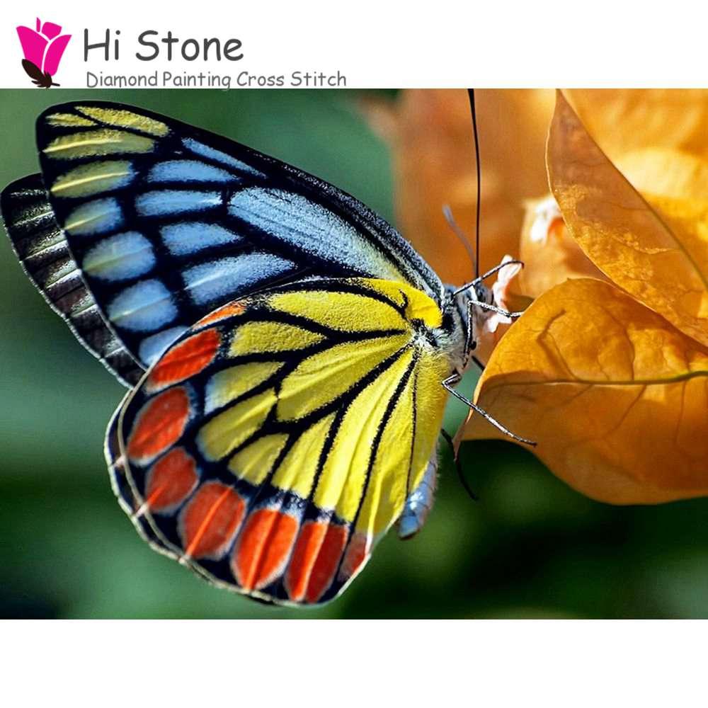Алмазная мозаика Цвет бабочка 5D поделки алмазов картина вышивка крестиком полный квадратный алмаз вышивка украшение дома подарок
