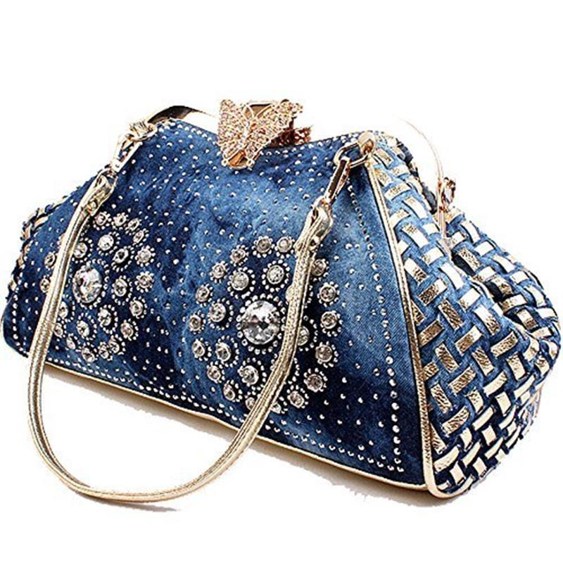 Fashion Women Handbag Chic Denim Fireworks Rhinestones Top Handle  Butterfly Decoration Patchwork Ladies Shoulder Bag ClutchTop-Handle  Bags