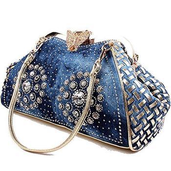 Raaqy Denim Rhinestones Butterfly Shoulder Bag