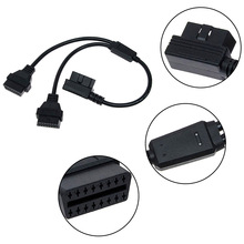цена на OBD II Cable 16 Pin OBD 2 Splitter Adapter Male To Dual Extension Cable Female Connector Obd2 Extended Interface Line