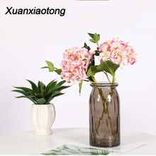 Xuanxiaotong 1pc Hydrangea Fake Flowers Wedding Party Bouquet Silk Artificial Faux Floral Plants Dried Flower