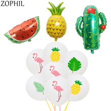 Tropical Party Flamingo Summer Hawaiian Decoration Jungle Beach Theme Supplies Pineapple Foil Balloon Palm Leaves
