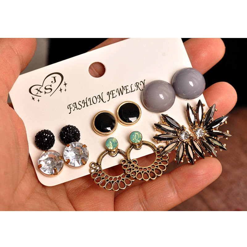 New Fashion Women's Jewelry Wholesale Girls' Party Earrings Black Gray Pretty Mashup6 Pairs /set Earrings Gift Free Shipping