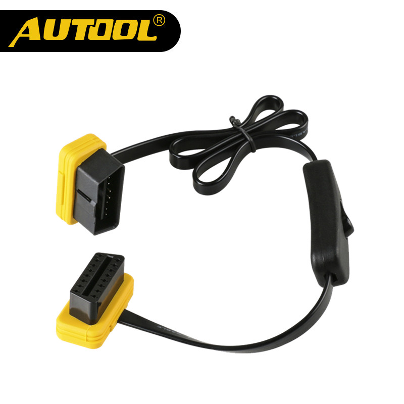 AUTOOL Car OBD2 Extension Cable With Switch Auto OBD 2 ELM327 Adapter Extend Connector 60CM ELM 327 Extension Cables 16 Pin Wire