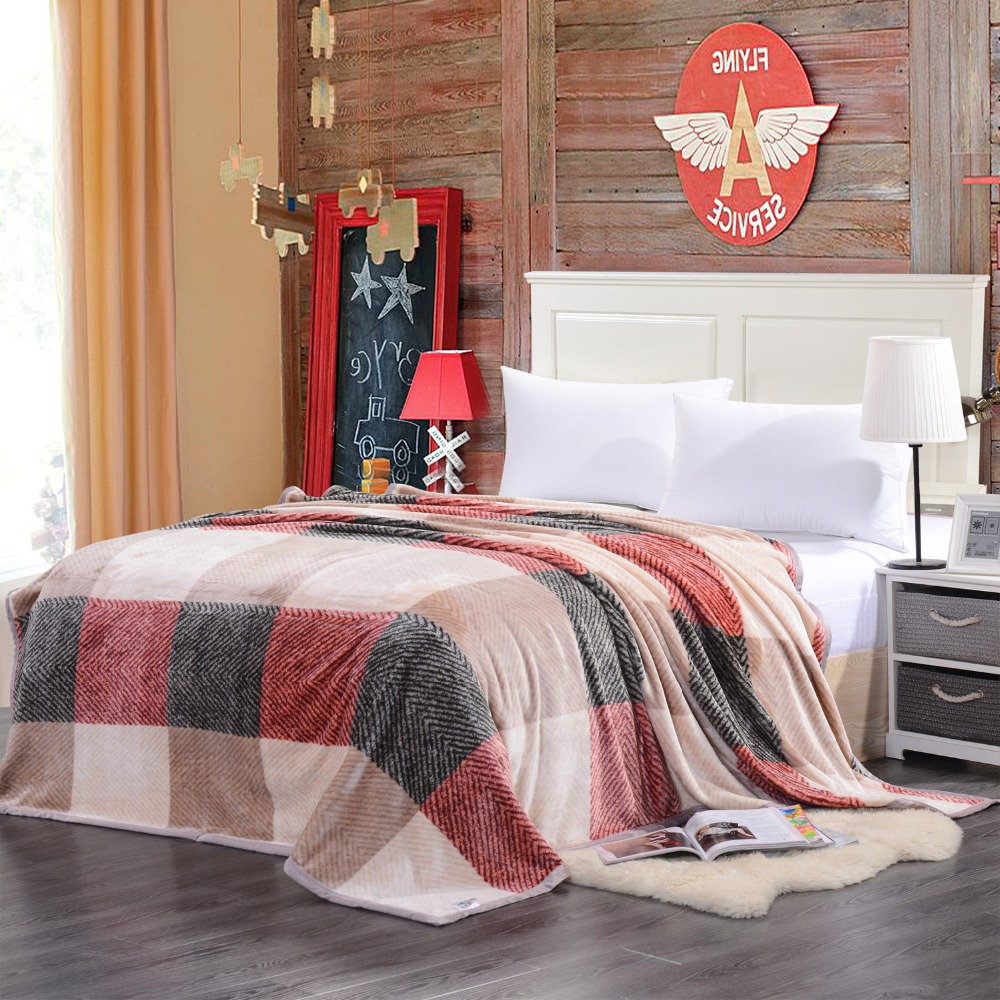 Flannel Blanket Coral Fleece Plush Throw Warm Sofa Blankets Cheap Winter  Plaid Soft Thick Adult Queen
