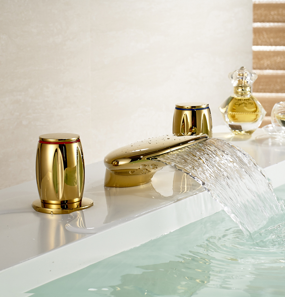 Waterfall Spout 3 Holes Widespread Tub Mixer Tap Gold Finish Basin SInk Faucet luxury swan bathroom faucet tub spout mixer tap widespread sink mixer tap new