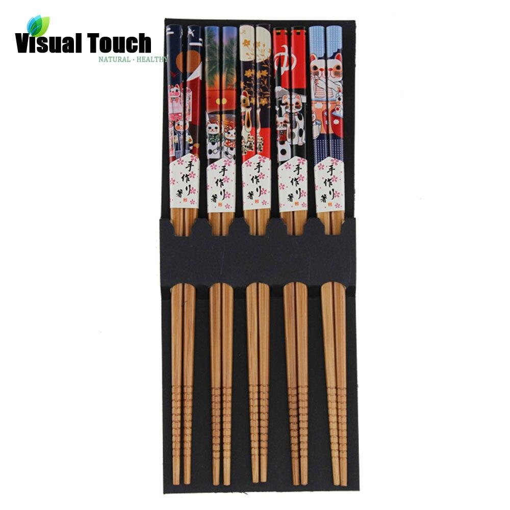 Visual Touch Lucky Cat Bamboo Ecological Chopsticks Handmade Wood Wooden Chopstick Set 5 pairs/Set