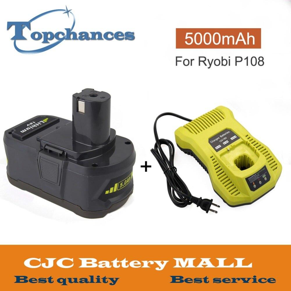 Os mais recentes de Alta Capacidade 18 v 5000 mah Li ion Bateria Recarregável Para Ryobi P108 P107 P104 RB18L40 Para ONE + Com 12 18 v P117 Carregador