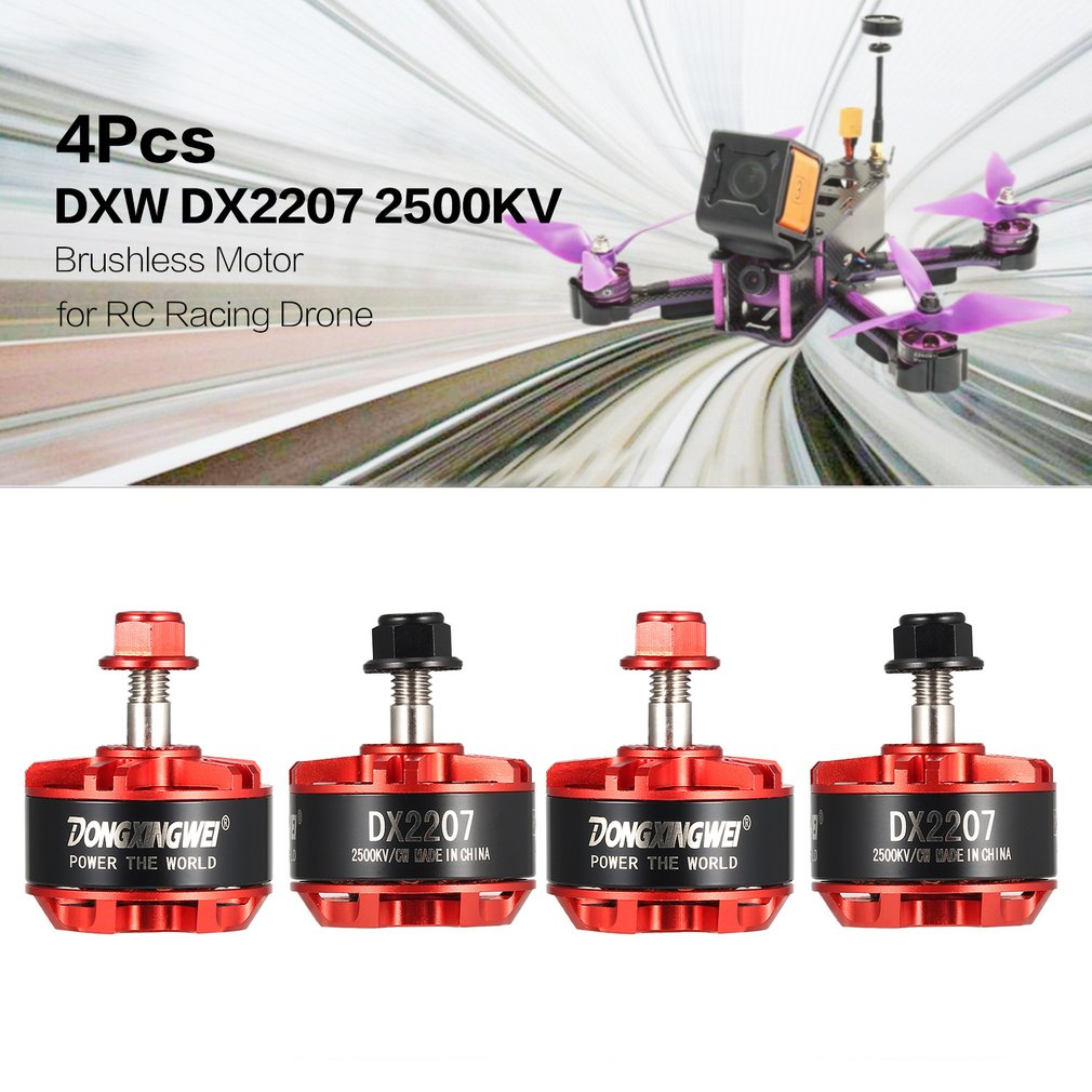 4Pcs DXW DX2207 2500KV 3-6S CW/CCW Brushless Motor for RC Racing Drone Multicopter Airplane Helicopter Quadcopter Aircraft