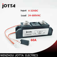 60A Industrial SSR Single-phase Solid State Relay 60A Input 4-32VDC Output 24-680AC