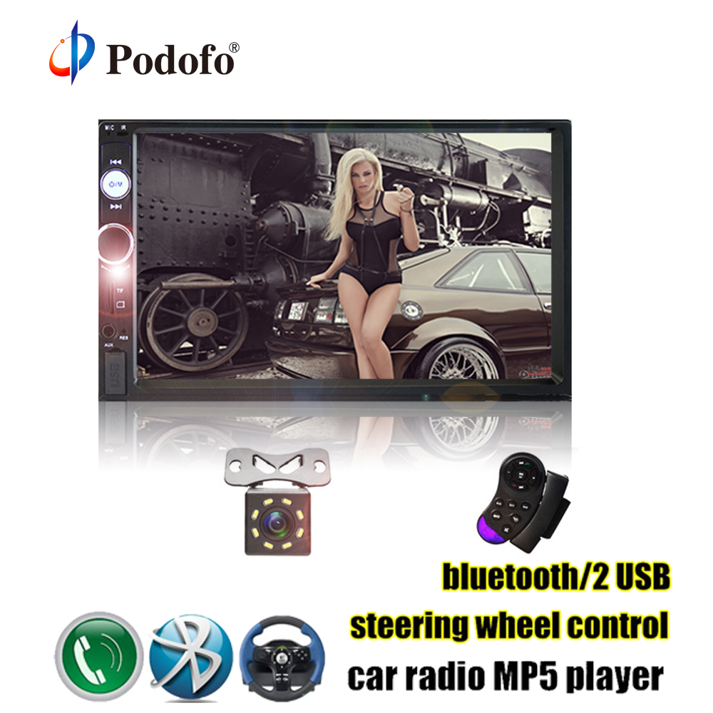 Podofo Original Autoradio 2 Din 7 Touch Screen Dash Car Radio MP5 Bluetooth USB Car Digital