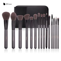 DUcare Makeup Brushes Sets 15Pcs Cosmetic Synthetic Powder Foundation Eyeshadow Kits With Portable Mirror And Leather