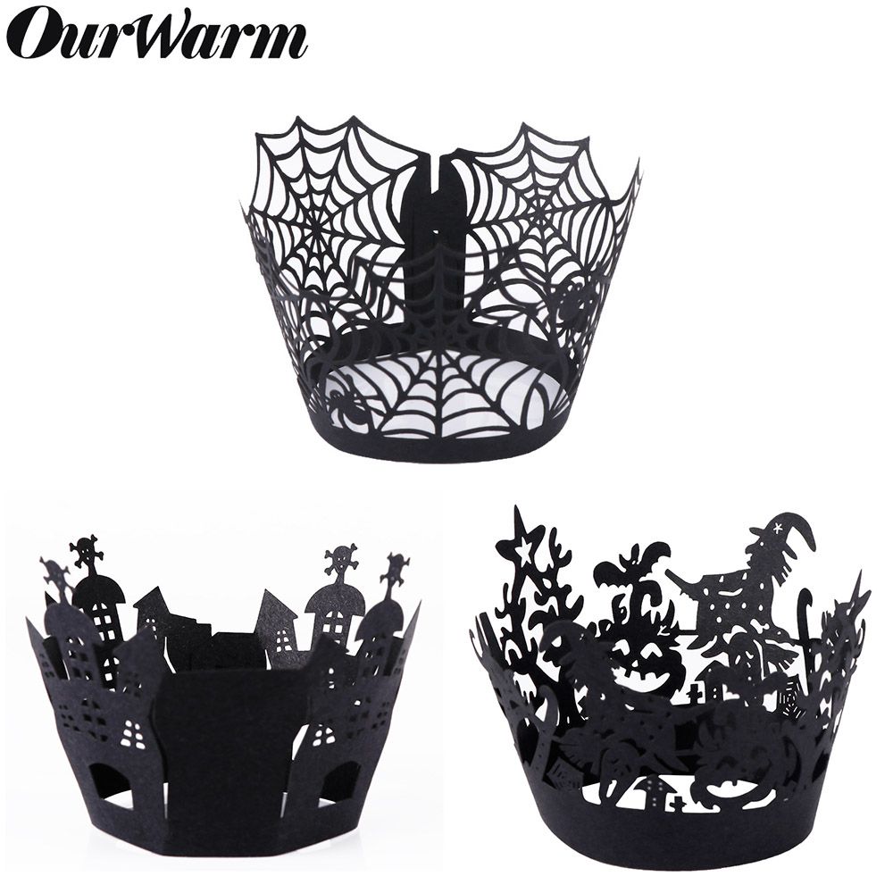 OurWarm 12 stücke Halloween Cupcake Wrapper Backen Tasse Aushöhlen Papier Kuchen Wrapper Hexe Spiderweb Burg Halloween Dekoration