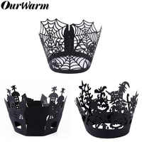OurWarm 12pcs Halloween Cupcake Wrapper Baking Cup Hollow Out Paper Cake Wrapper Witch Spiderweb Castle Halloween Decoration