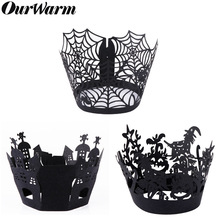 12pcs/lot Halloween Spiderweb/Witch/Castle Laser Cut Cupcake Wrappers Liners Party Decorations