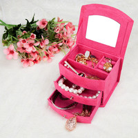 Cocostyles unique luxury elegant pink velvet jewelry organizer storage box for noble women organizer charm exhibitor gift set