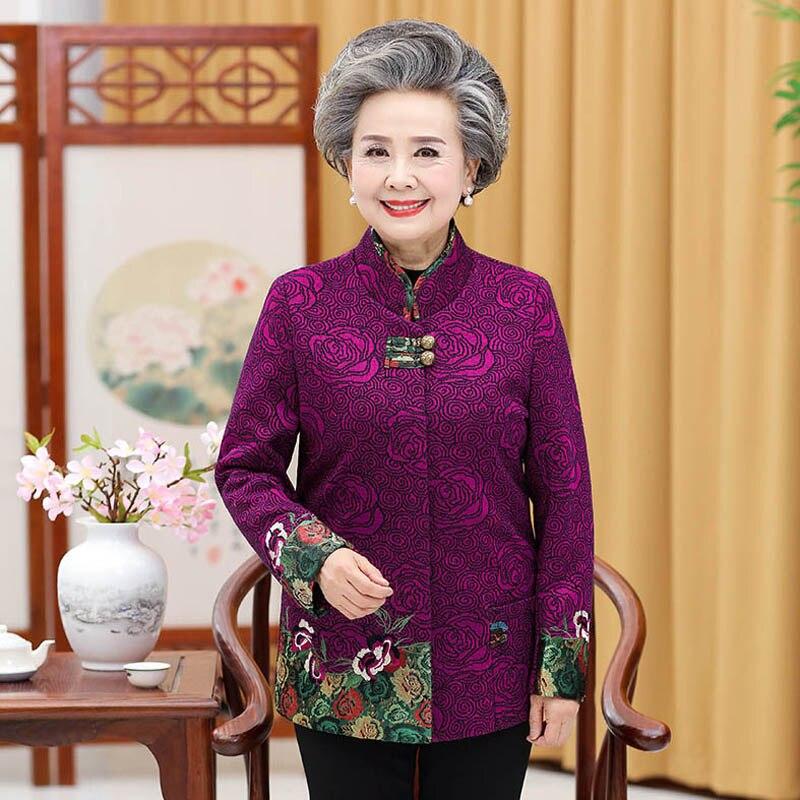 Veste de costume Tang de fête pour femmes d'âge moyen de grande taille mère chargée grande taille col chemise veste automne P8009