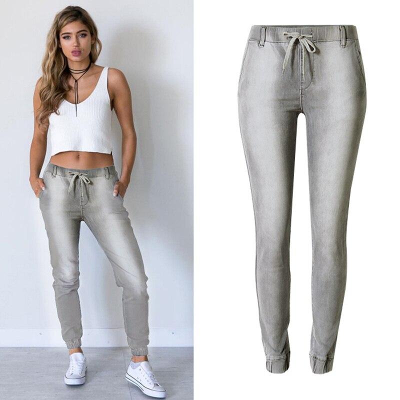 Tide Pantalones Algodón Style Blanqueado Denim Jeans Vintage Street Cintura Niza Mujeres Pop Gray Mediados Elástico Estilo Delgada Marca De Con qnFRE