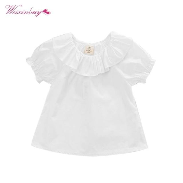 b705091a0346 WEIXINBUY Toddler Newborn Baby Cute Sweet Baby Girls Puff Sleeve Blouse  Kids White Shirt Summer Tops