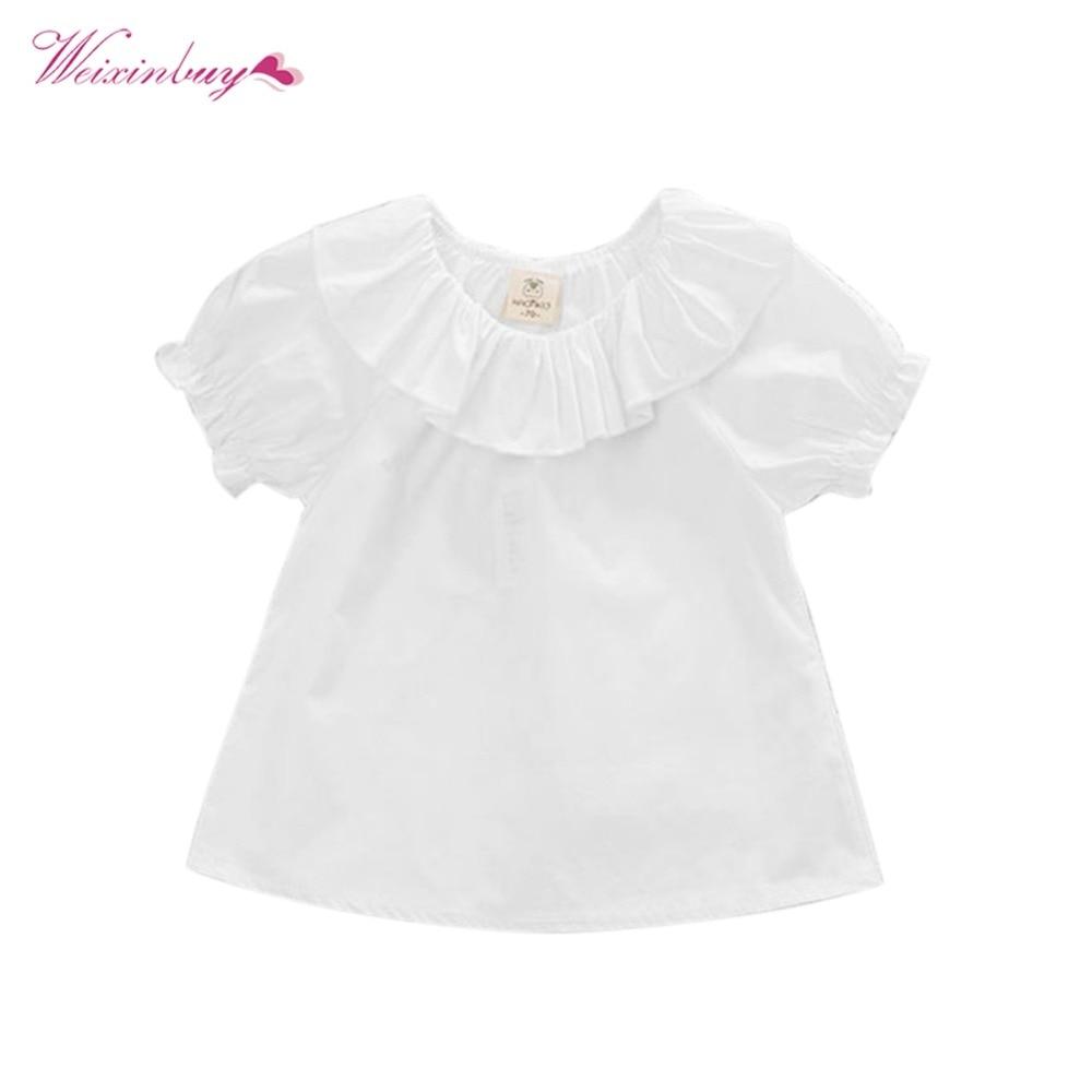 WEIXINBUY Toddler Newborn Baby Cute Sweet Baby Girls Puff Sleeve Blouse Kids White Shirt Summer Tops Kids Cloth