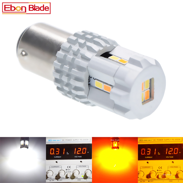 2Pcs 1157 LED Switchback Bulb White Amber/Yellow LED BAY15D P21/5W Dual color for Car DRL Front Turn Signal Light 9V 16V DC