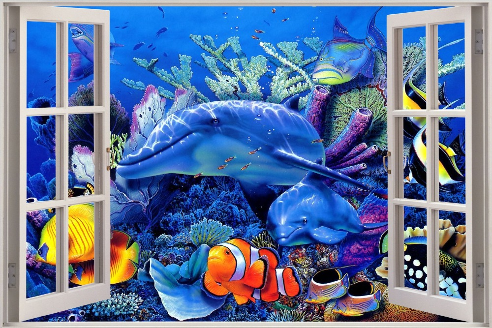 Custom Fashion Wallpaper Home Decoration Under Sea Window Poster Size 50x76cm Dolphin Wall Sticker Christmas In Stickers From