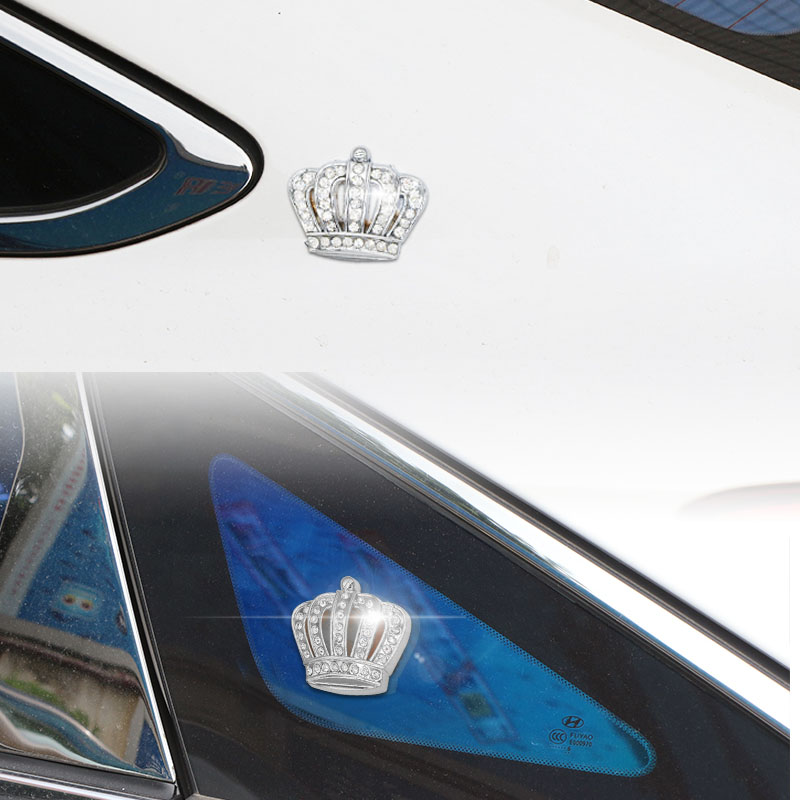 US $3 41 49% OFF Metal Crown with Rhinestone Car Side Emblem Badge Sticker  Decal Silver Crown Emblem Car Styling Decoration Stickers Accessories-in