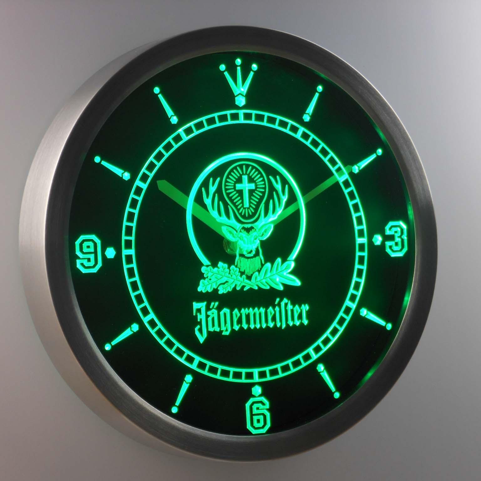 Jägermeister Neon verlichting LED Wandklok