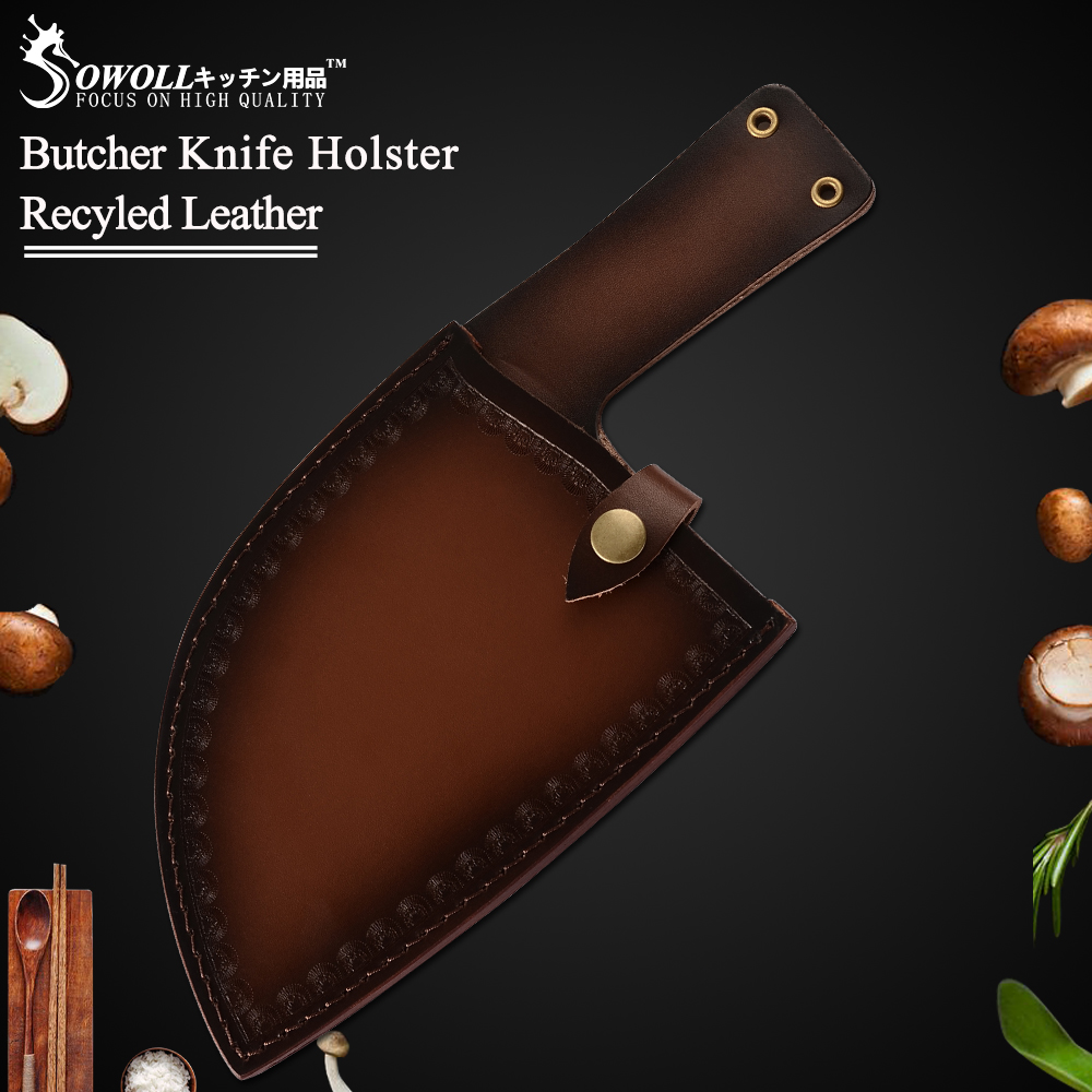 Sowoll Knife Cover Leather Case Plastic Protector Cover For Butcher Knife High Carbon Steel Knife High End Cleaver Blade Covers