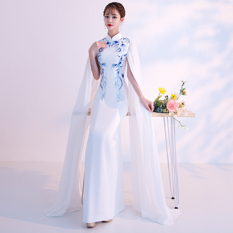 White Blue Traditional Chinese Women Dress Novelty Floral Slim Long Cheongsam Ladies Elegant Mandarin Collar Qipao