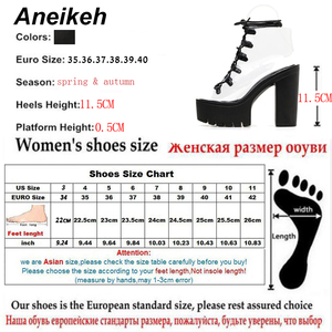Image 5 - Aneikeh 2019 Leisure PVC Sandals Women Shoes Platform Lace Up Transparent Square High Heels Peep Toe Summer Casual Black Size 40